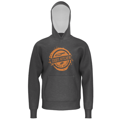 TODD'S KITCHEN: GRAY ORANGE PATTERN HOODIE