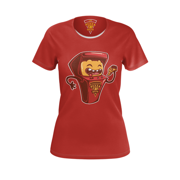 LES PIZZA GUYS: ARCADE MACHINE RED T-SHIRT -  WOMEN