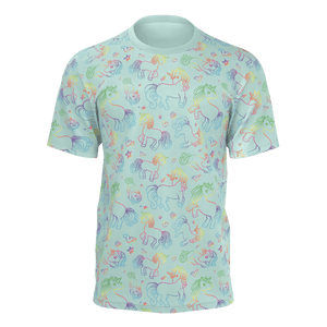 Unicorn Pattern Teal T-Shirt - Adult