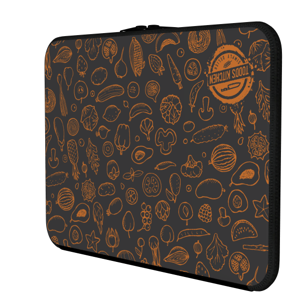 TODD'S KITCHEN: GRAY ORANGE LAPTOP CASE