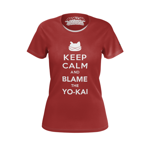 ABDALLAHSMASH026: KEEP CALM  RED T-SHIRT - WOMEN