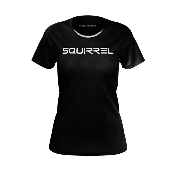 SQUIRREL: BLACK LOGO T-SHIRT - WOMEN