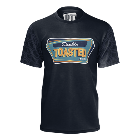 DOUBLE TOASTED: NAVY BLUE PATTERN T-SHIRT