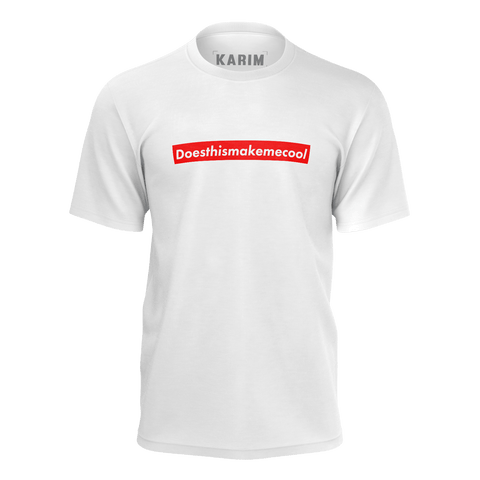 ******LIMITED EDITION****** KARIM JOVIAN: DOESTHISMAKEMECOOL WHITE T-SHIRT