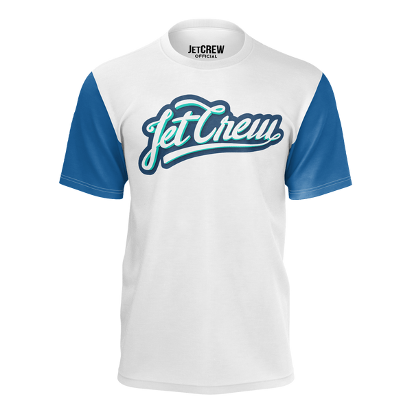 JETCREW: WHITE LOGO BLUE SLEEVES T-SHIRT