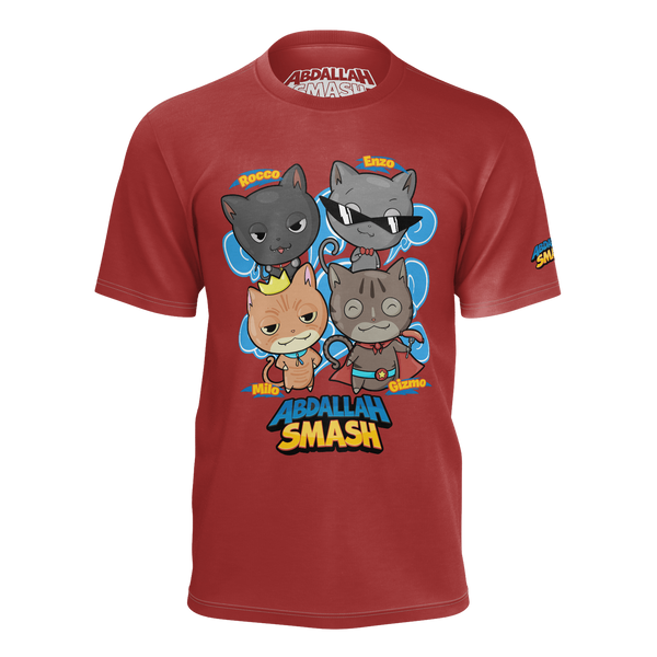 ABDALLAHSMASH026: SMASHCATS RED T-SHIRT