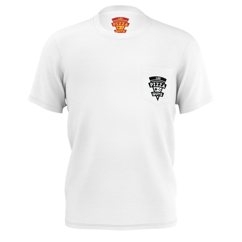 LES PIZZA GUYS: WHITE POCKET T-SHIRT