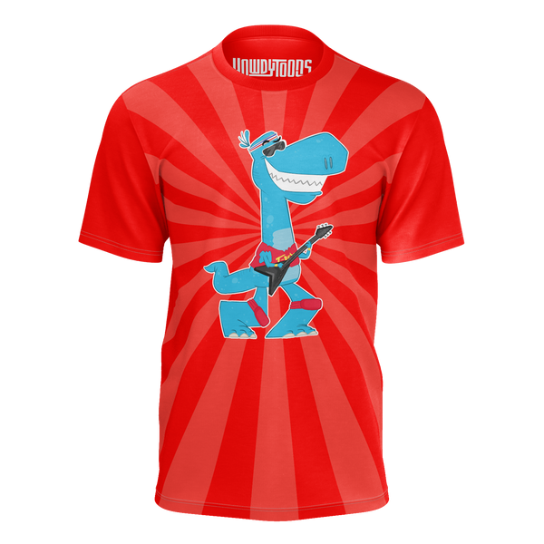 HOWDYTOONS:  T­REX GUITAR RED T-SHIRT