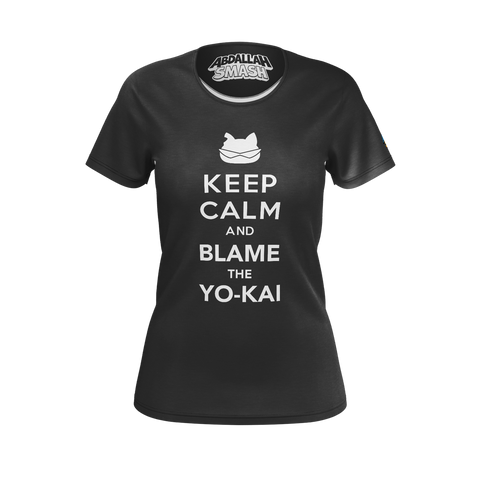 ABDALLAHSMASH026: KEEP CALM  BLACK T-SHIRT - WOMEN