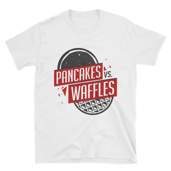 KIBITZ AND THE CAPTAIN: PANCAKES VS WAFFLES WHITE T-SHIRT