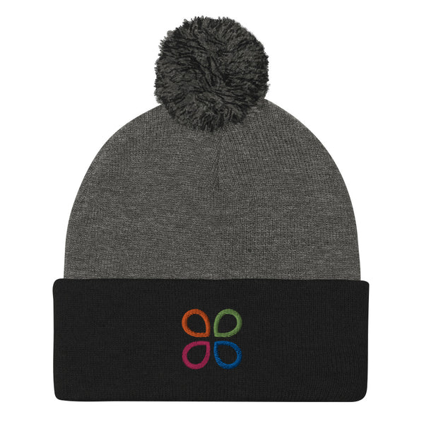 Logo Heather Grey Pom Beanie