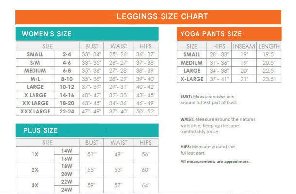 Size Chart for Leggings and Yoga Pants