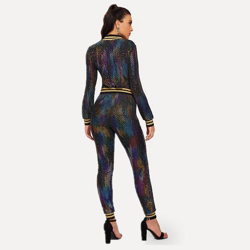 athleisure set - sequin jacket - Tights by Velma Canaday