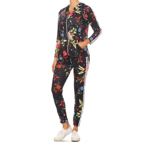 Flower Child Matching track suit leggings by Velma Canaday