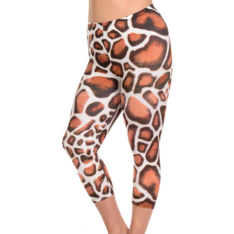 Giraffe print capri leggings by Velma Canaday