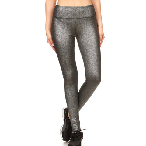 Silver Metallic Leggings by Velma Canaday