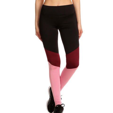 Merune - Burgundy and Pink Color Block Yoga Pants by Velma Canaday