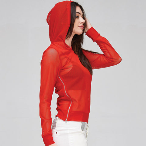 red zipper hoodie - Tights by Velma Canaday