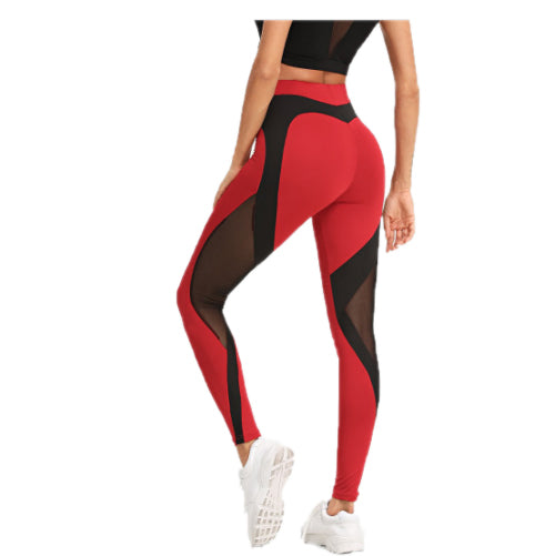 Red & Black Mesh Leggings - Tights Presented by Velma Canaday