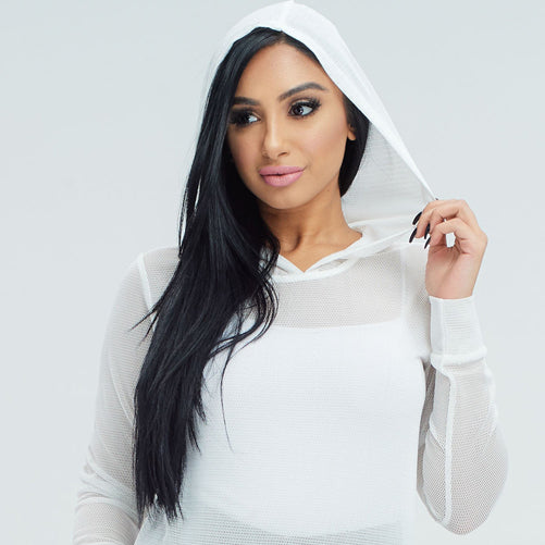 womens white workout hoodie - Tights by Velma Canaday