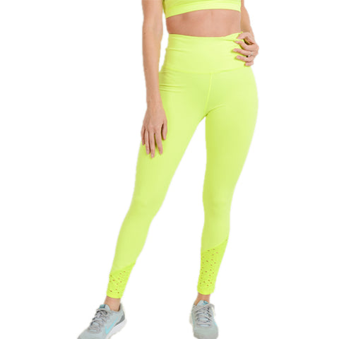 neon yellow yoga pants - tights by Velma Canaday