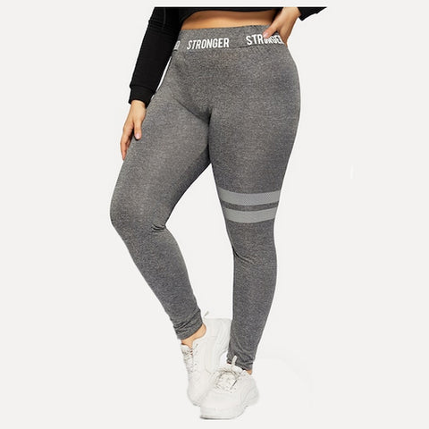 stronger - plus size grey leggings - Tights by Velma Canaday