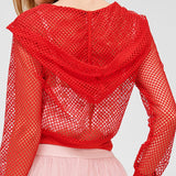 camila - red - fishnet zip up jacket - Tights by Velma Canaday