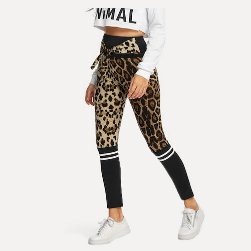 leopard print sports leggings Tights by Velma Canaday