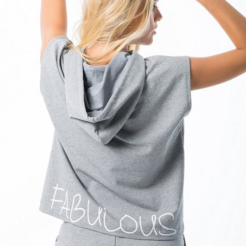 fabulous grey hoodie - activewear top by Velma Canaday