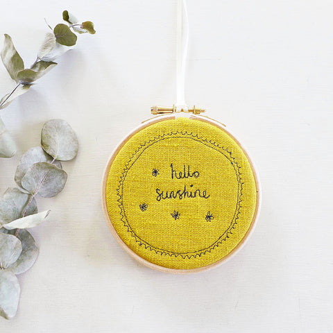 10cm 'Hello Sunshine' Embroidered Hoop Picture