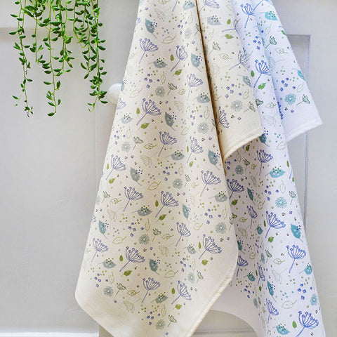PRINTED COTTON TEA TOWEL - blue parsley