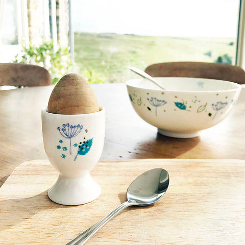PAIR OF EGG CUPS - Blue Parsley