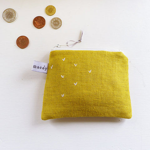 EMBROIDERED COIN PURSE - sprigs, mustard