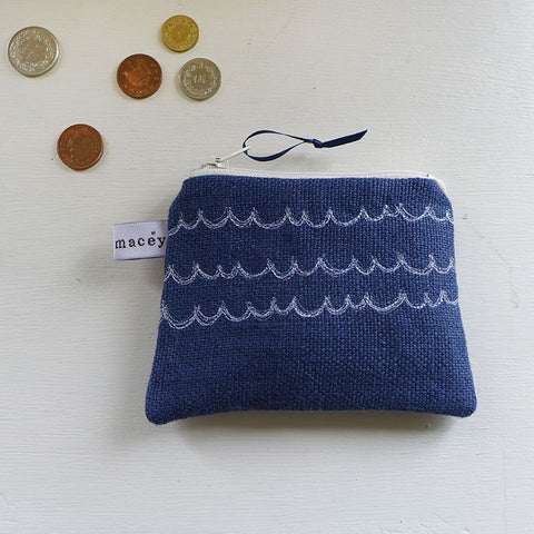 EMBROIDERED COIN PURSE - waves, navy