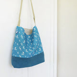 DAY BAG - sailboats, Cornish blue