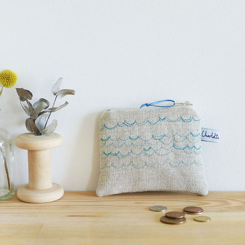 EMBROIDERED LINEN COIN PURSE - Cornish blue Waves