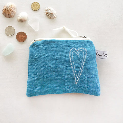 EMBROIDERED COIN PURSE - scandi heart, cornish blue