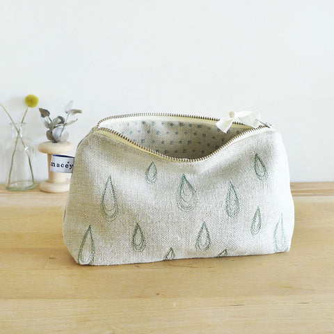 EMBROIDERED LINEN MID POUCH - Droplets