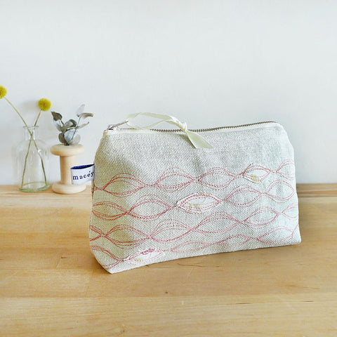 EMBROIDERED LINEN MID POUCH - Ripples