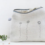 EMBROIDERED TALL POUCH - daisies, belgian linen
