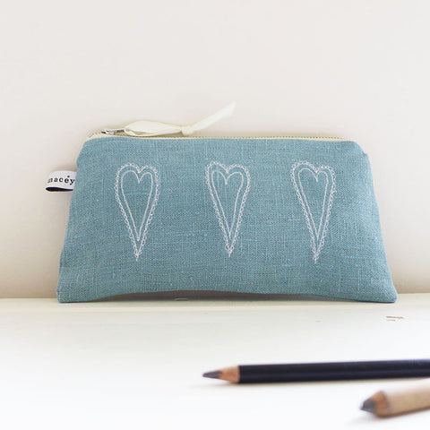 LONG POUCH - scandi hearts, teal