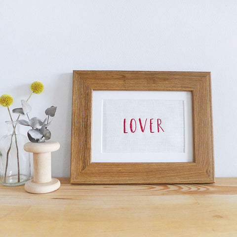 'LOVER' Embroidered Linen Picture