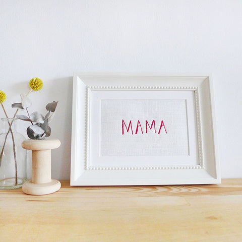 'MAMA' Embroidered Linen Picture