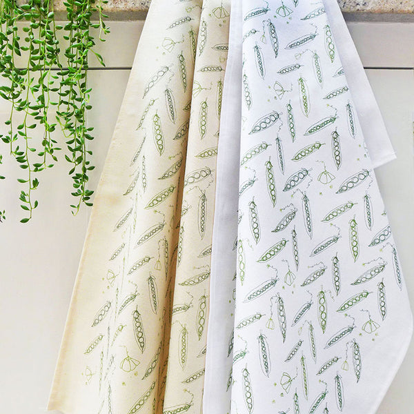 PRINTED COTTON TEA TOWEL - peas