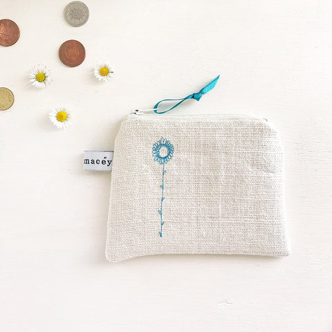 PERSONALISED EMBROIDERED COIN PURSE - daisy