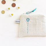 PERSONALISED EMBROIDERED COIN PURSE - daisy stem, cream