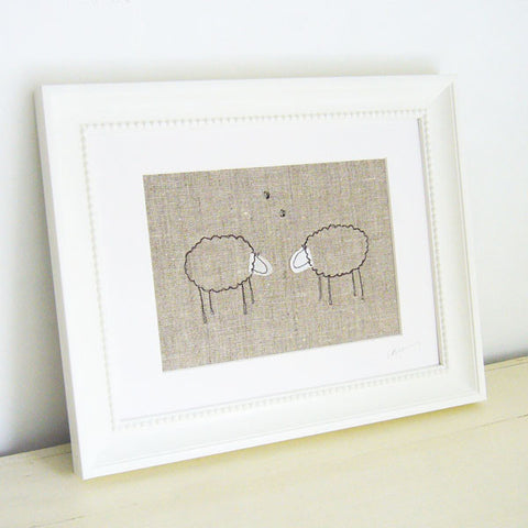 Pair of Natural Sheep Embroidered Picture