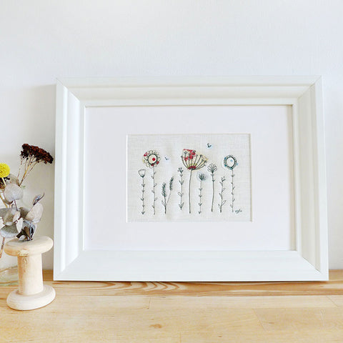 Green Wildflowers Embroidered Linen Picture