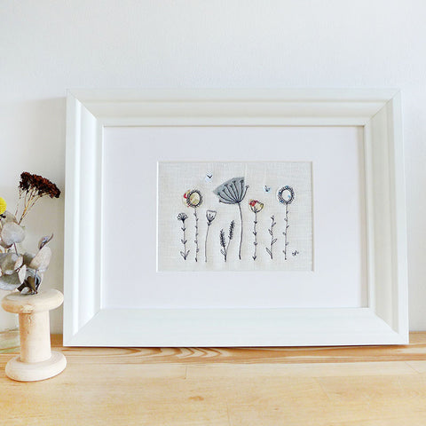 Navy Wildflowers Embroidered Linen Picture