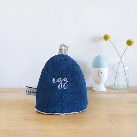 Blue Cotton 'Egg' Cosy